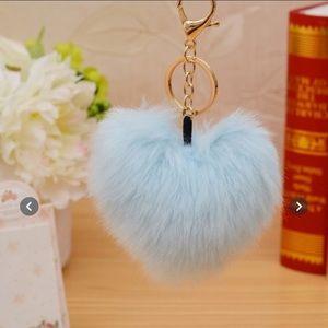 Faux Fur Heart-Shaped Pom Pom Keychain